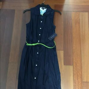 Tommy Hilfiger Sleeveless Dress Casual Navy Belted